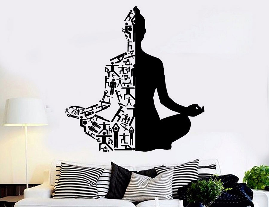 Yoga Art Wall Decals Healthy Lifestyle Sports Wall Sticker Home Decor Gym Wall Art Mural Meditation Yoga Wall Poster YJ20-in Wall Stickers from Home & Garden