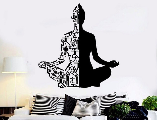 Yoga Art Wall Decals Healthy Lifestyle Sports Wall Sticker Home Decor Gym Wall Art Mural Meditation Yoga Wall Poster YJ20