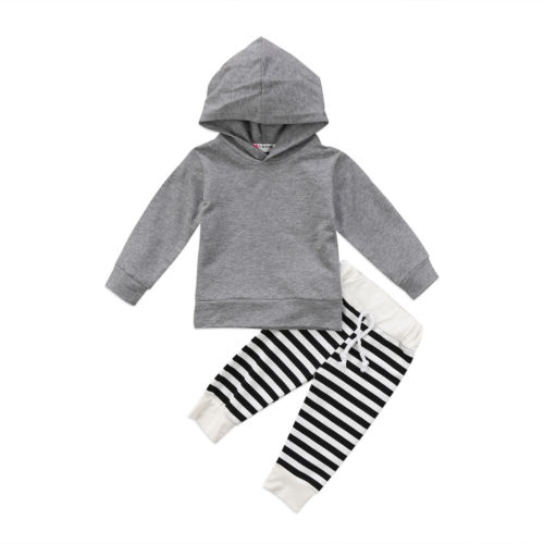 2PCS Baby Boy Girl Clothing Cotton Hooded Tops Sweatshirt +Striped Long Pants Outfit Clothing Set