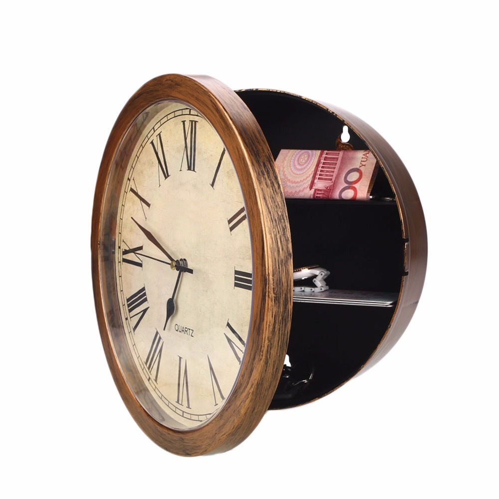 Wall-Mounted Clock Safes Simulation Safe Money Cash Jewelry Secret Storage Safe Box Hanging Clock Security Strongbox