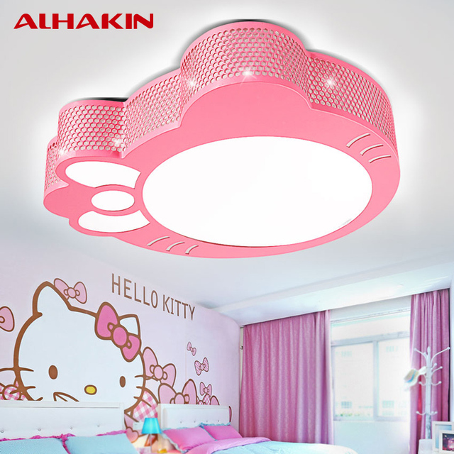 ALHAKIN Girlsu0027 Bedroom Ceiling Lamps12W Pink Hello Kitty Ceiling Lamp  Iron+Acrylic Dia 30CM