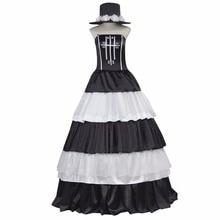 Por encargo de las mujeres dress de una pieza perona de lujo blanco y negro dress cake dress traje cosplay para el vestido de bola partido