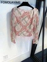 FOMOLAYIME Новые Осенние футболки 2018 Для женщин с длинным рукавом блестками футболка топ