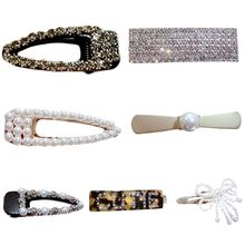 Women Sweet Girls Vintage Metal Alloy Alligator Hair Clips Luxury Faux Pearl Bowknot Hairgrips Hollow Out Geometric Party Snap B faux sapphire alloy hollow out floral barrette