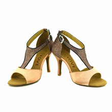 YOVE Dance Shoes Satin Latin/Salsa Dance Shoes Women's 3.5″ Slim Heel w1610-42