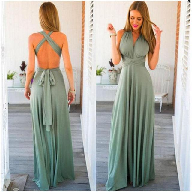 4d67a759d8 2017 Summmer Maxi Dress Multi-rope Backless Cross-halter Sexy Bandage Dress  Deep V-neck Long Boho Dress Solid Female Party Dress