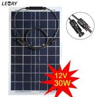 LEORY 30 W 12 V Semi-flexível Painel Solar Monocristalino Células de Bateria Kit DIY Sistema de Energia Solar Para O Barco Camping + 1 m de Cabo MC4