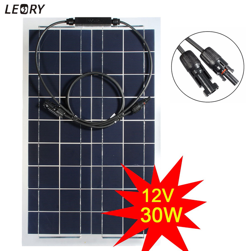 LEORY 30W 12V Semi-flexible Solar Panel Monocrystalline Solar Battery Cells DIY Power System Kit For Boat Camping +1m MC4 Cable leory 12v 4 5w solar panel portable monocrystalline solar cells power charger diy module battery system for car automobile boat