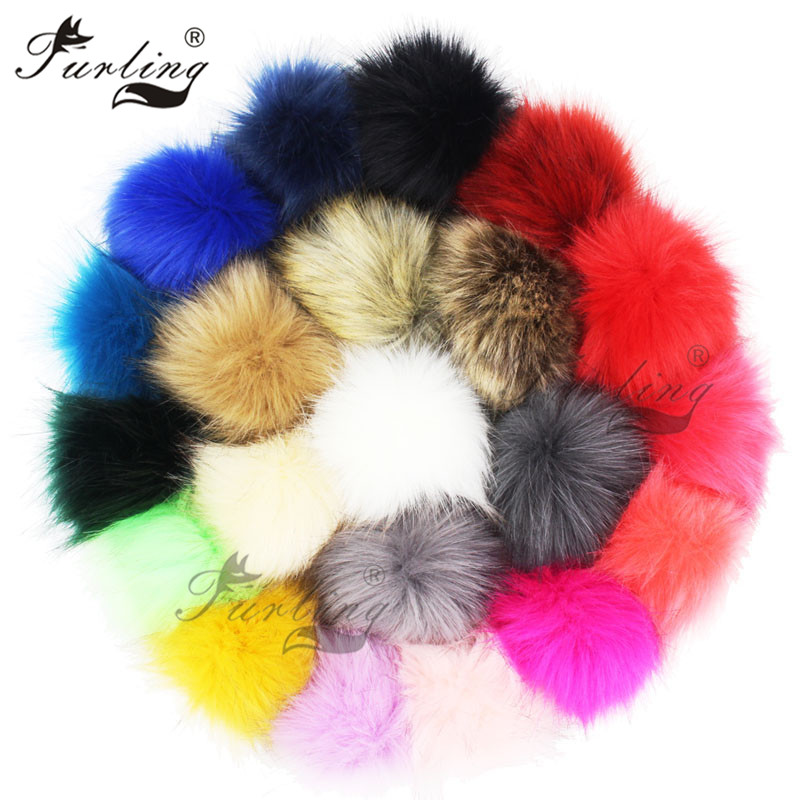 Furling DIY 1PC 10 Cm/3.9 Inch Faux Fox Fur Pompoms Ball For Knitting Hats Accessories Key Chain Accessories Scarf Pompoms