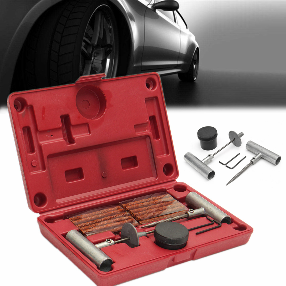 Top 99 Cheap Products Cars Tubeless Tire Repair Kit In Bulbs 35 Pcs Heavy Duty Car Van Motorcycle Tyre Puncture Tool Vehicle Wheel Mending Sets