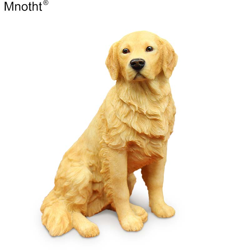 Mnotht 1/6 Golden Retriever Sitting Dog Simulation Animal Model Ornaments Toys Resin Accessory for Action Figure Collection m5n