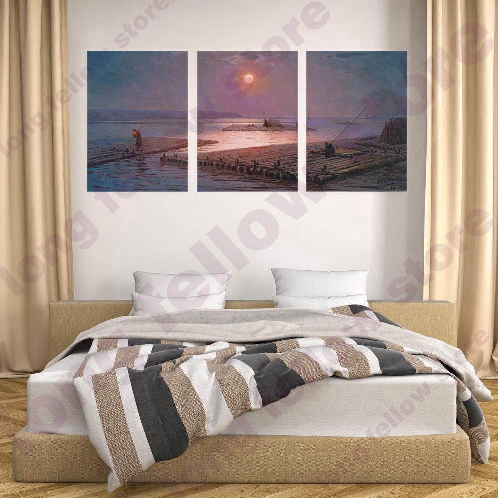 HD Print Bamboo Raft Sunset Landscape Canvas Painting for Dining Room Office Wall Decor Seascape Poster Wall Art Home Decor Gift in Painting Calligraphy from Home Garden