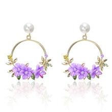2019 Fashion Cute Pink/Purple Flower Earrings For Women Accessories Jewelry Vintage Rhinestone Round Geometric Drop Earrings a suit of cute rhinestone geometric earrings for women