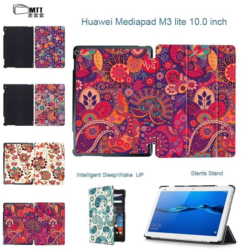 MTT Print Paisley Case For Huawei Mediapad m3 lite 10 BAH-L09 bah-AL00 10.1 Tablet Covers Protective PU Leather Stand Cases Skin cover case for huawei mediapad m3 youth lite 8 cpn w09 cpn al00 8 tablet protective cover skin free stylus free film