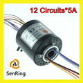 Aluminum alloy slip ring 12.7mm gold contacts of  12 circuits 5A through hole slip rings