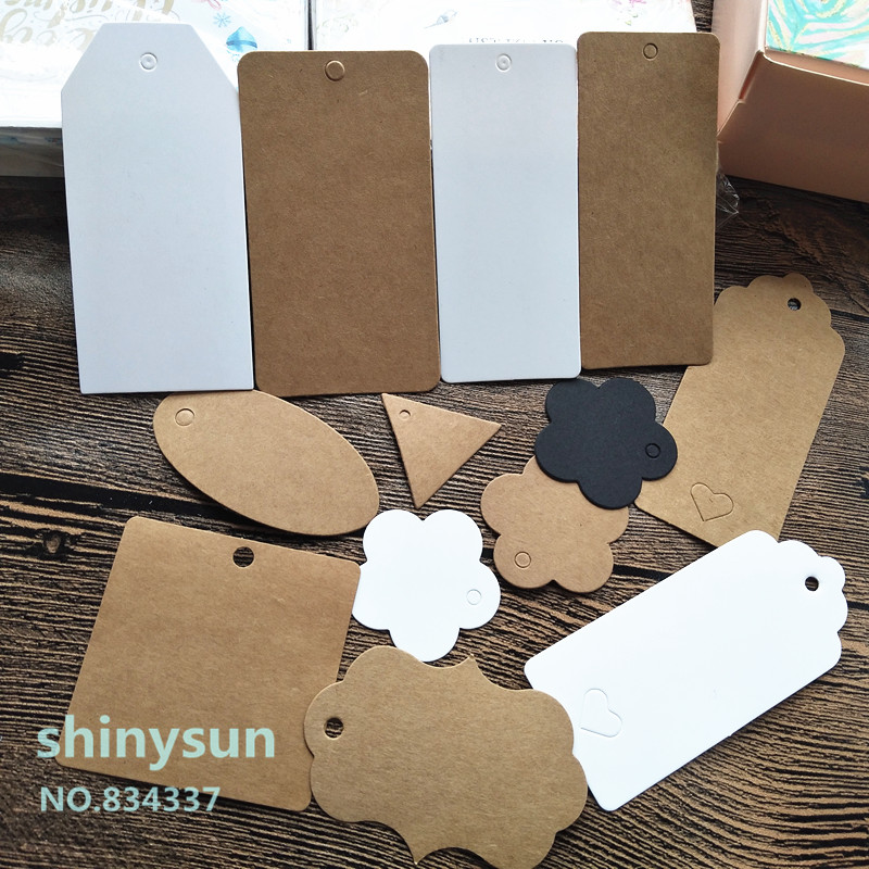 50PCS Multi Style Kraft Paper Labels DIY Crafts Packaging Hang Tag Gift Wedding/Birthday Party Candy Boxes Price Tags for Flower