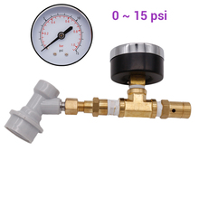 Ball Lock Spunding Valve Adjustable Pressure Relief Valve Assembly with Gauge 0 ~ 15 psi(0~1 bar) Beer Brewing Equipment