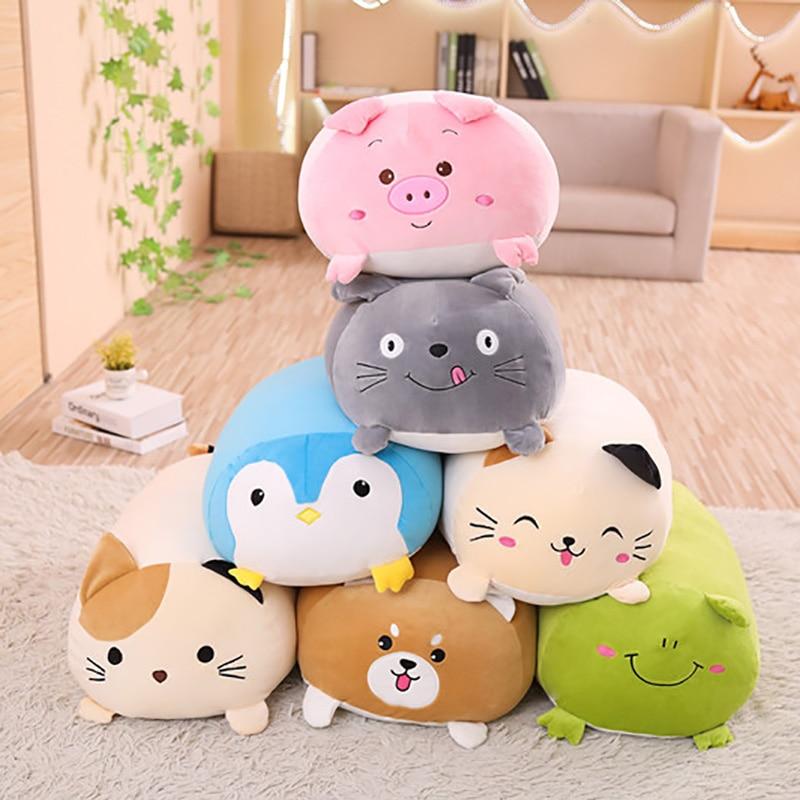 6 Kinds Soft Animal Cartoon Pillow Cushion Cute Fat Dog/Cat/Totoro /Penguin/Pig/Frog Plush Toy Stuffed Home Decor Cat Pillow