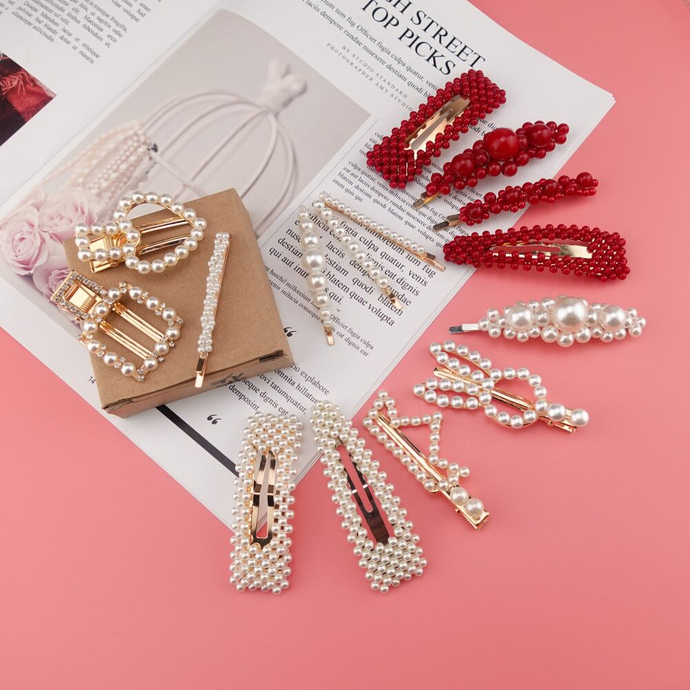 Korea Pearl Clip Women Girls Hair Clip Accessories Hair Clamp Claw Barrette Ornaments Hairgrip   Headwear   Hairpin Headdress