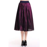 New Color Retro Pleated Skirt Waist Fold Skirts