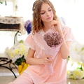 Spring And Summer New Arrival Female Short-sleeve 100%  Cotton Three Color Sleepwear Rustic Princess Sweet Lounge Pajamas Set