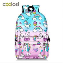 Newly Unicorn Backpack School Bags for Teenager Girls Boys Hot Schoolbag Colorfu