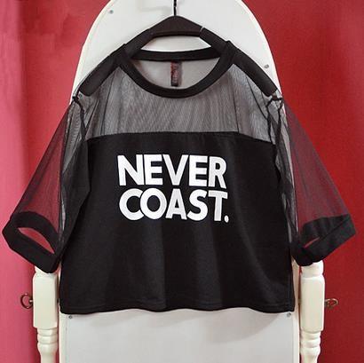 Heißer verkauf Frauen Harajuku Shirts Sommer Junge Transparent Crop - Damenbekleidung - Foto 2