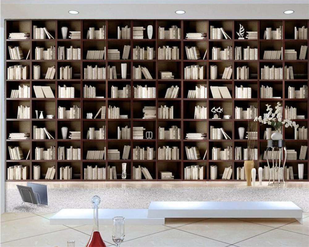 Beibehang Custom Wallpaper Living Room Bedroom Mural European Classic Luxury Wooden Simple Bookshelf Bookcase 3D Wallpaper Mural