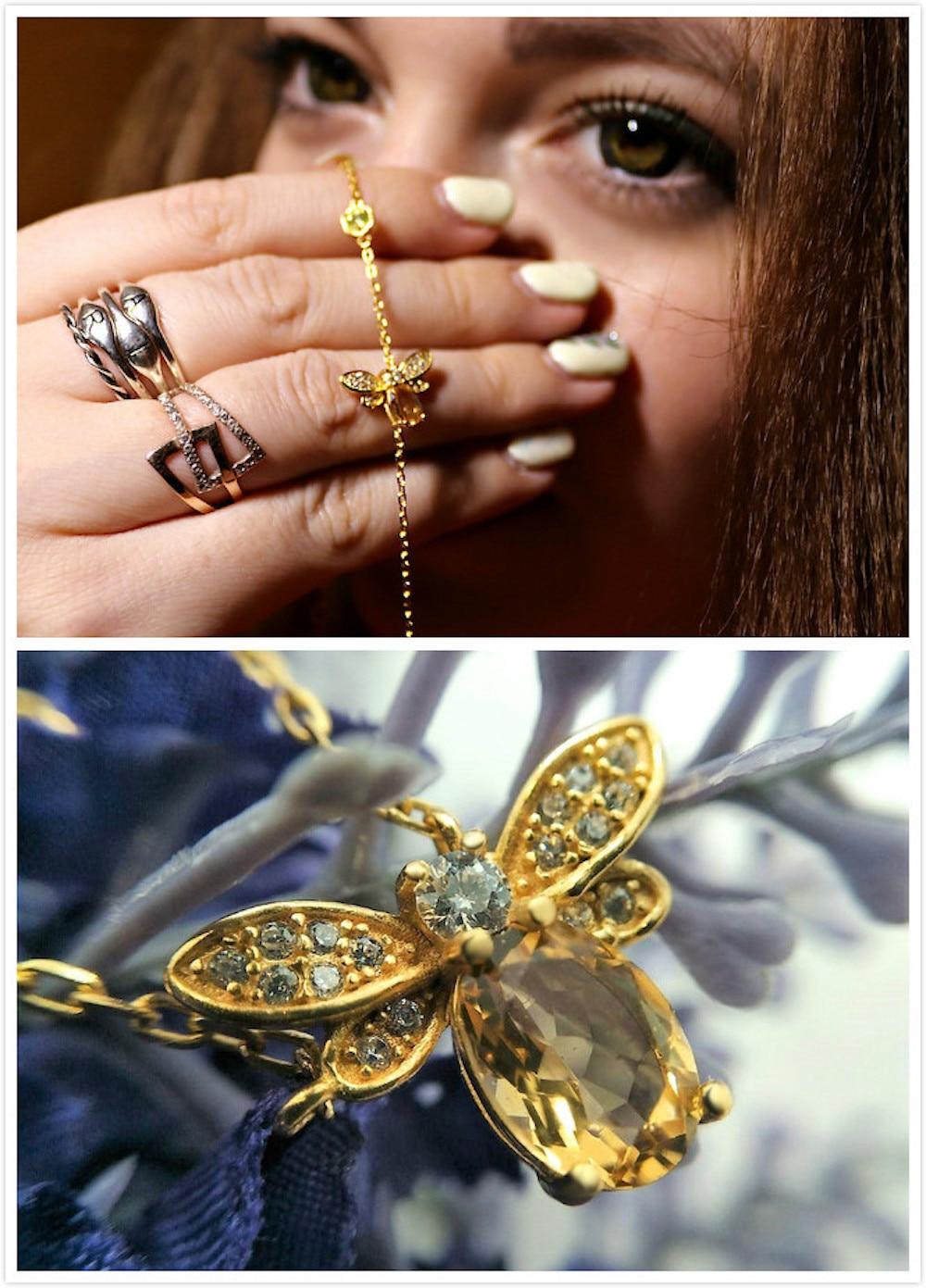HTB1zMnwXN rK1RkHFqDq6yJAFXaw LAMOON Cute Bee 925 Sterling Silver Bracelet Woman love Citrine Gemstones Jewelry 14K Gold Plated Designer Jewellery LMHI002