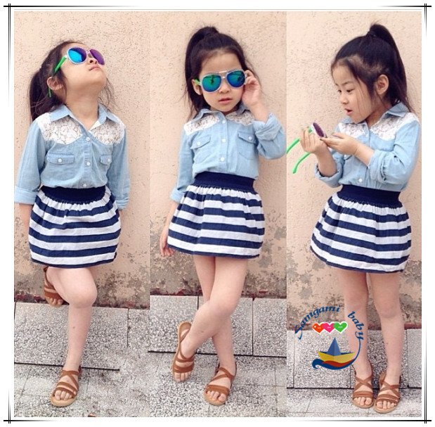 9097600d377c 2016 New Summer Girls Clothes Suit Long Sleeved Denim Shirt + White and Black  Striped skirt 2pcs / set fashion Kids Set -in Clothing Sets from Mother &  Kids ...