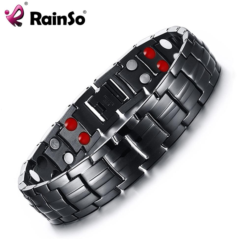 Rainso Double Row Punk Health Magnetarmband Herrenschmuck Titan Handbänder Bijoux Black Plated Herren Handarmband