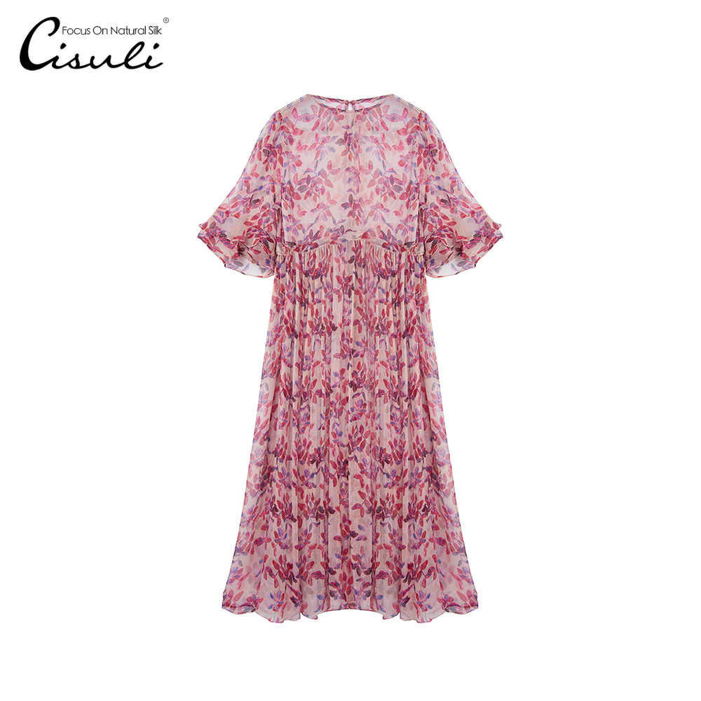 CISULI Silk Woman Dress Holiday Dress Silk Vacation Style Flower Printed Silk Geogette Fabric Sexy Summer long Ladies Dress image