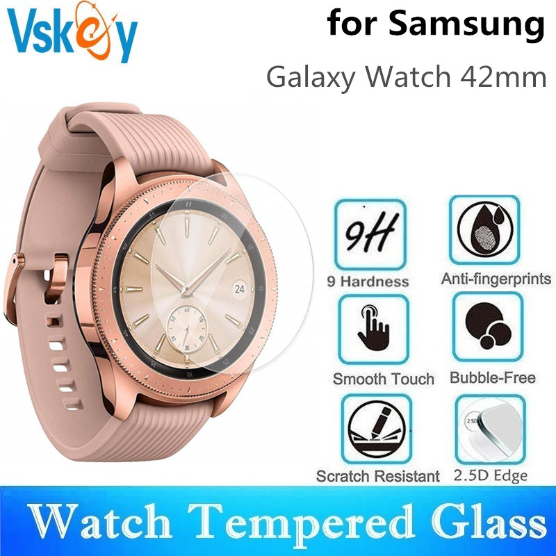 VSKEY 100PCS Tempered Glass For Samsung Galaxy Watch 42mm Screen Protector D30 5mm Sport Smart Watch