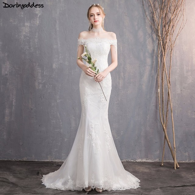 b09031e19dd15 Robe de mariee Cheap Vintage Lace Mermaid Wedding Dress 2018 Off Shoulder  Short Sleeve Wedding Dress