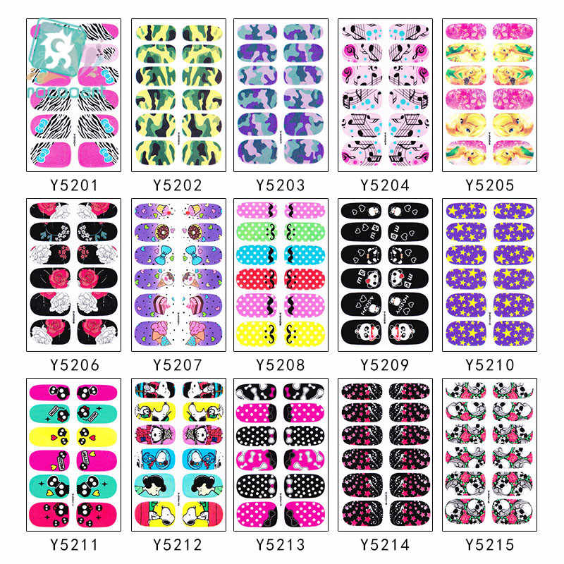 Wholesale Y52 Series-10pcs 3D Nail Art Stickers Decals Self Adhesive Nail Foils Decoration Art Decals Colorful Decoration