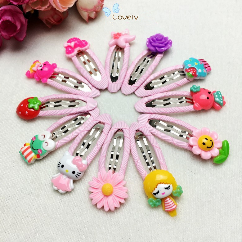 New Cartoon Candy Color Girl Hair Clip Ornament Ribbon Child BB Hairpin Accessories halloween party zombie skull skeleton hand bone claw hairpin punk hair clip for women girl hair accessories headwear 1 pcs