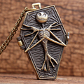2016 New Arrival Top sales The Nightmare Before Christmas Jack Skull Skeleton Quartz Pocket Watch Mens Lady Halloween Gifts P304