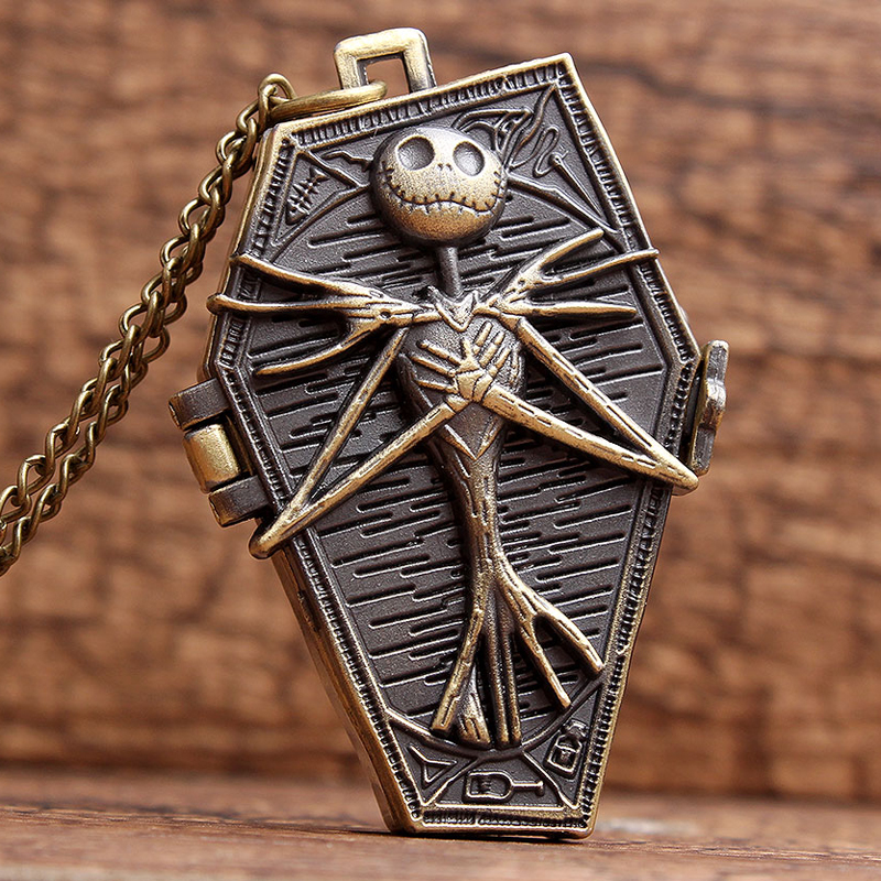 The Nightmare Before Christmas Pocket Watch Jack Skellington Skull Skeleton Quartz Pocket Watch FOB Chain Women Mens Gifts P304 retro skull death hold sickle pocket watch fashion mens womens fob chain bronze devil quartz fashion halloween funny watch gifts