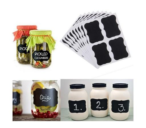 36Pcs/Set Blackboard Sticker Craft Kitchen Jar Organizer Labels Mini Chalkboard Chalk Board Stickers Black