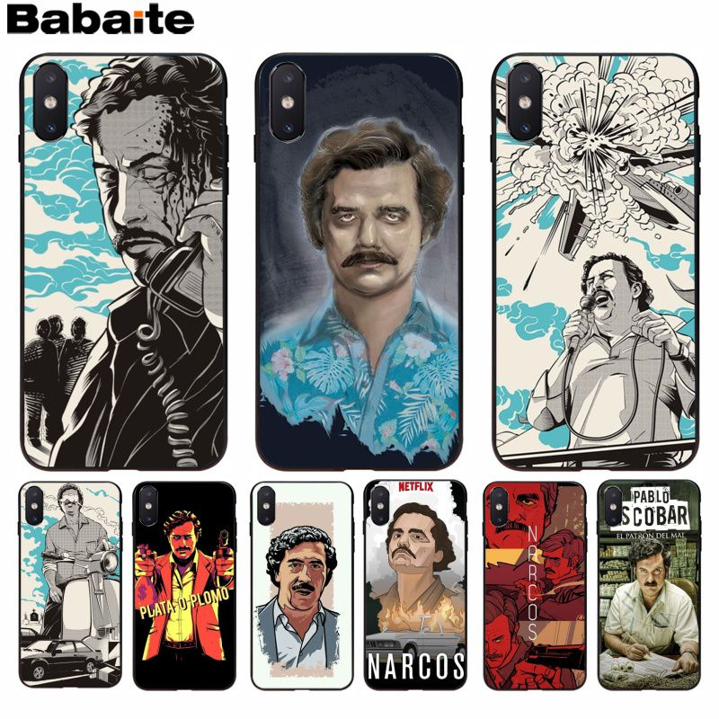 Babaite Narcos Tv Series Pablo Escobar Novelty Luxury Soft Black Phone Case For Iphone 8 7 6 6s Plus 5 5s Se Xr X Xs Max Strengthening Sinews And Bones Half-wrapped Case