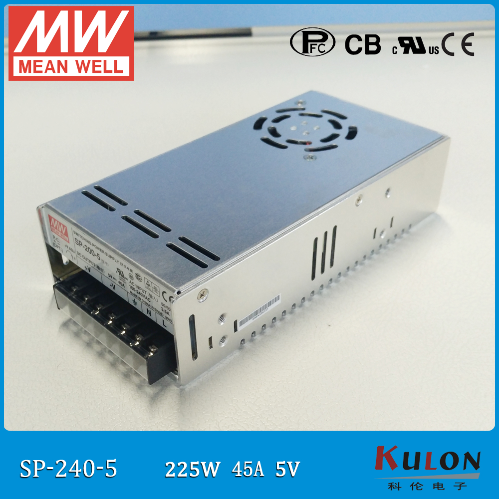 Original MEAN WELL 225W 45A 5V SP 240 5 Meanwell Switching Power Supply with PFC function