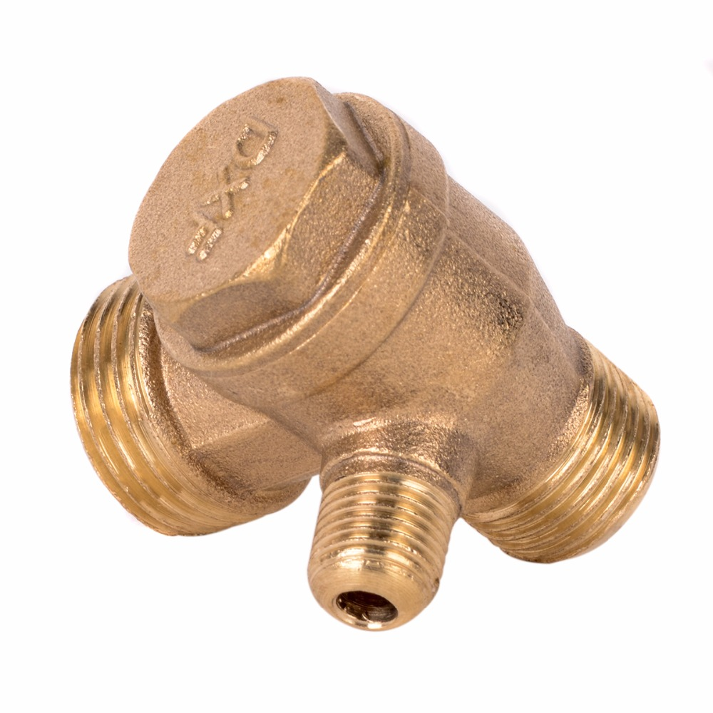 1pc New 3 Port Check Valve Brass Male Thread Check Valve Connector Tool For Air Compressor 5