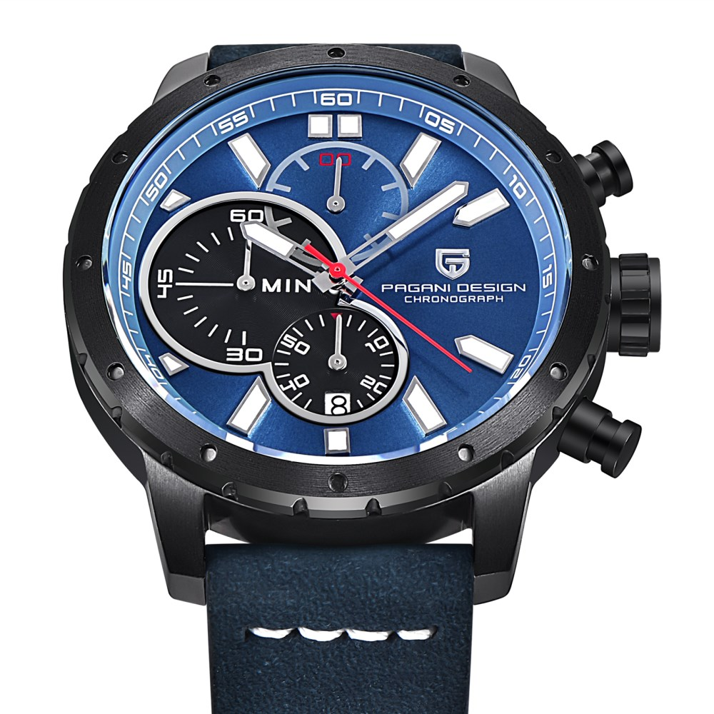 Prix pour PAGANI CONCEPTION de Montres Hommes Chronographe En Cuir Véritable Quartz Montre hommes Étanche Sport Militaire Horloge Homme relogio masculino