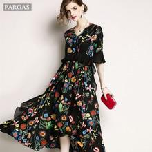 c7d869eea7604 Tasarımcı Elbiseler 2019 Yüksek Kalite Sping Zarif Elbise Kadınlar Uzun  Maxi Elbise Büyük Salıncak gevşek Vestidos Robe Femme