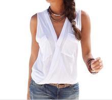 2017 Summer Shirts Womens Blouses Sexy Sleeveless Double Pocket Blusas Femininos V Neck Tops Casual Fashion Blouse M0156