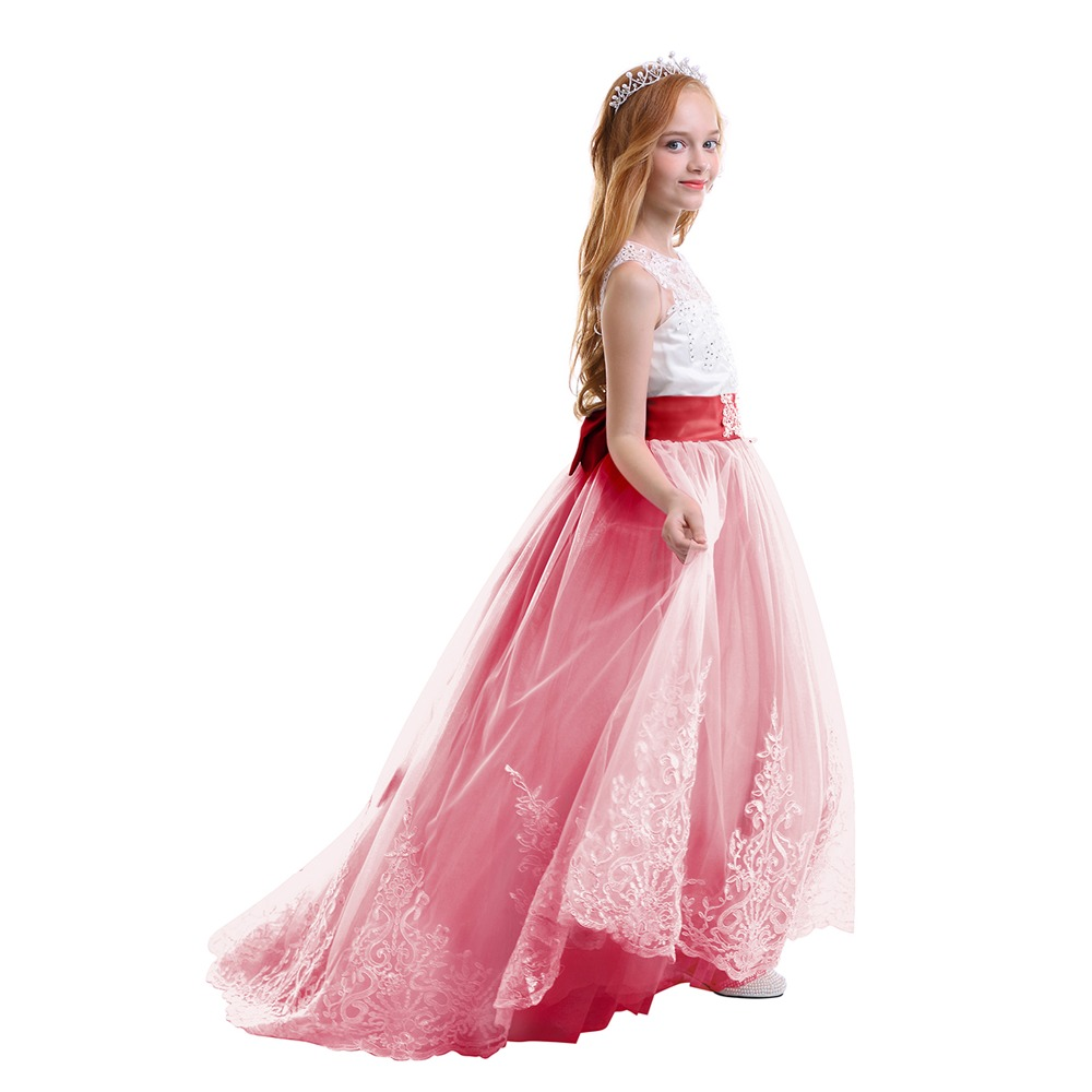 b7c1c3d70 Elegant Baby Kid Girls Dress Red Tulle Trailing Long Princess Dress for Birthday  Party Wedding Bridesmaid Kids Dresses for Girls-in Dresses from Mother ...