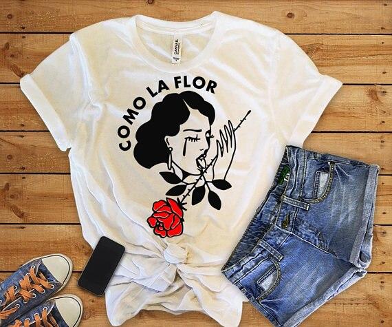 2018 Vogue Das Mulheres t camisa de Manga Curta Flor Rosa Impresso engraçado Como La Flor Plus Size Harajuku Mulheres de Algodão de Verão roupas