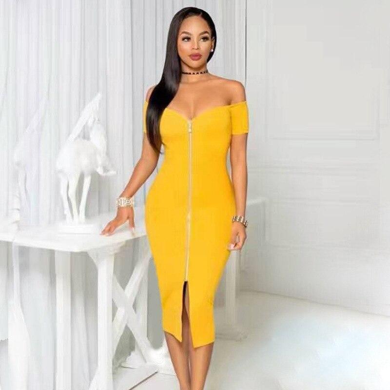 Sexy Evening Party Bandage Dresses 2018 Summer Slash Neck Zippers Short Sleeve Knee Length Lady Clothes Celebrity Women Dress