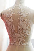 1 piece off white wedding Lace Applique, embroidered bodice lace supplies, bridal dress altering, back applique