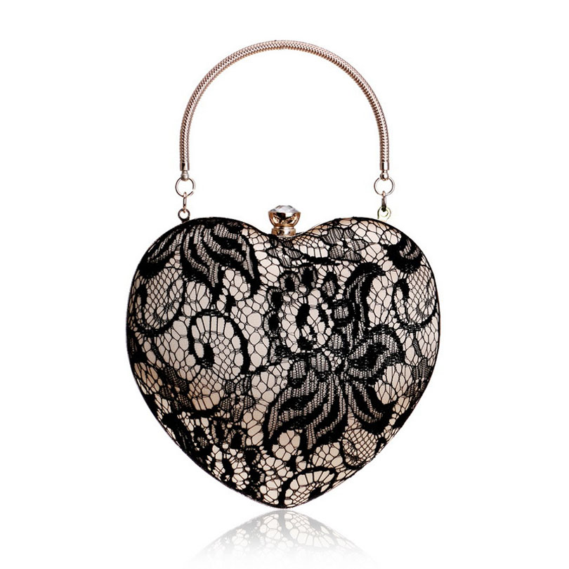 Clutch-Bags Lace Evening-Hand-Bag Party Silk Good Satin Black Lover-Shaped Exquisite